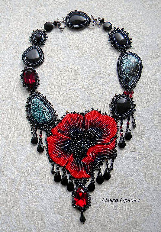 Olga Orlova is one more talanted beadwork author. She works mostly with bead embroidery and makes really delicate amazing jewelry. Her necklaces, brooches and handbags remind beautifulold-fashioned and vintage things because she uses oldgolden-embroideredtechniques.