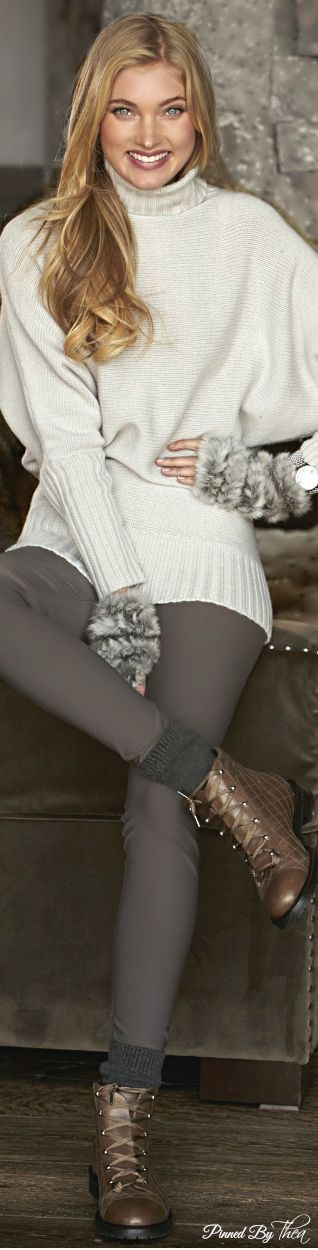 Elsa Hosk; love the sweater with the fur warmers and leggings, add a heal then it's perf.