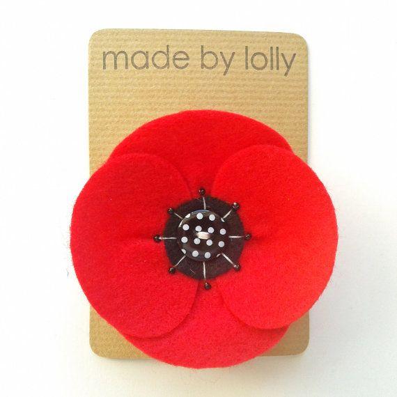 Poppy Corsage  Red Felt Retro Poppy Brooch by madebylolly on Etsy, £8.00