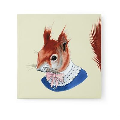 Red Mrs. Squirrel Portrait- Land of Nod: Canvas Wall, Squirrels, Squirrel Print, Red Squirrel, Berkley Illustration, Kid