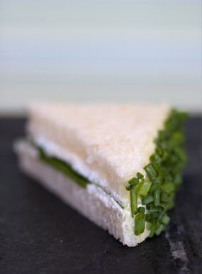 Goat Cheese & Chive Tea Sandwiches... they look yummy!  There's also a B-L-Tea Sandwich recipe on this page, too!  :)