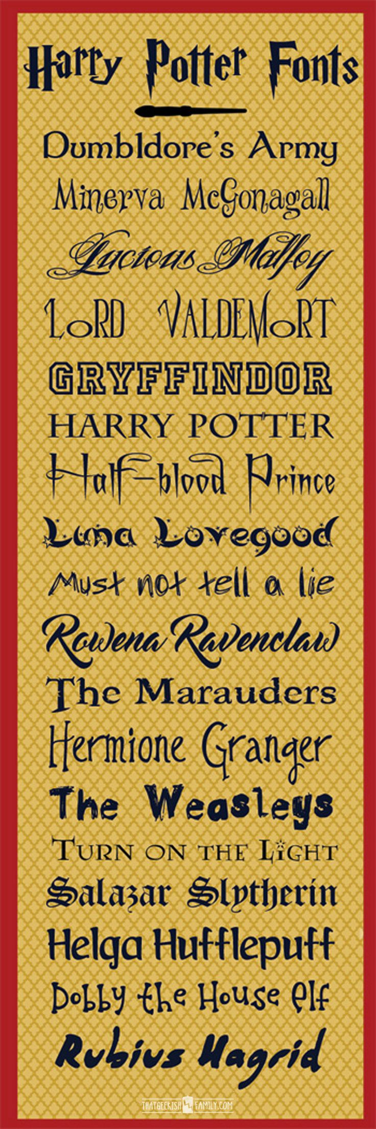 Look at all the great Harry Potter inspired free fonts! Perfect for our birthday party invites and scrapbook pages! Find them at ThatGeekishFamily.com