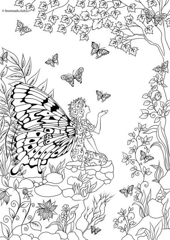 Woman Butterfly Printable Adult Coloring Page From