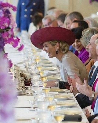 The atmosphere during lunch at the Noordeinde Palace was a jovial one with many of the guests pictured laughing and joking with Queen Maxima of The Netherlands