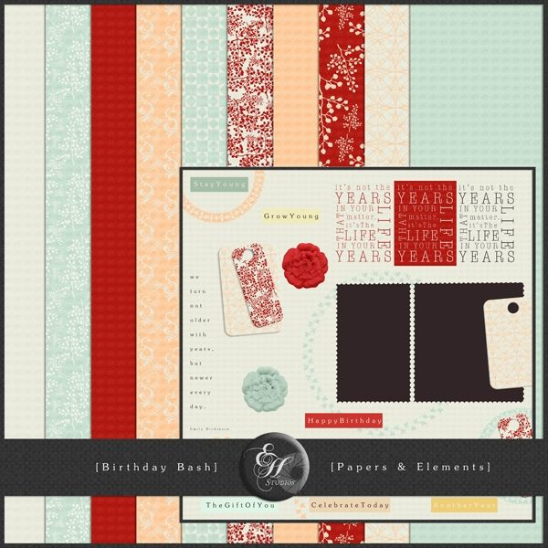 Birthday Bash.    This little kit about celebrating elegant birthdays & living life was created to mark Mscraps 1st Birthday and another wonderful Mscraps Blog Hop!! The response was so great that I've now decided to make it completely visible in my shop & keep it available for free!!