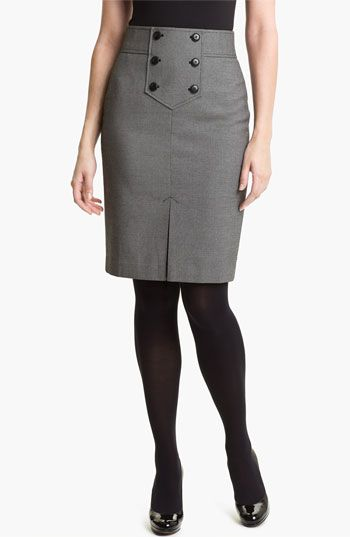 Button Trim Pencil Skirt