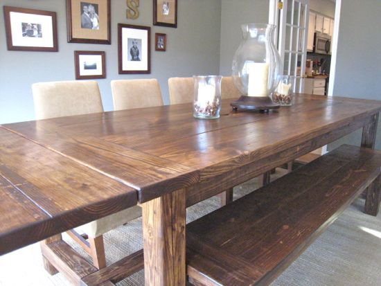 DIY farmhouse table a la Restoration Hardware, only better because it has extensions.  On our to-do list.