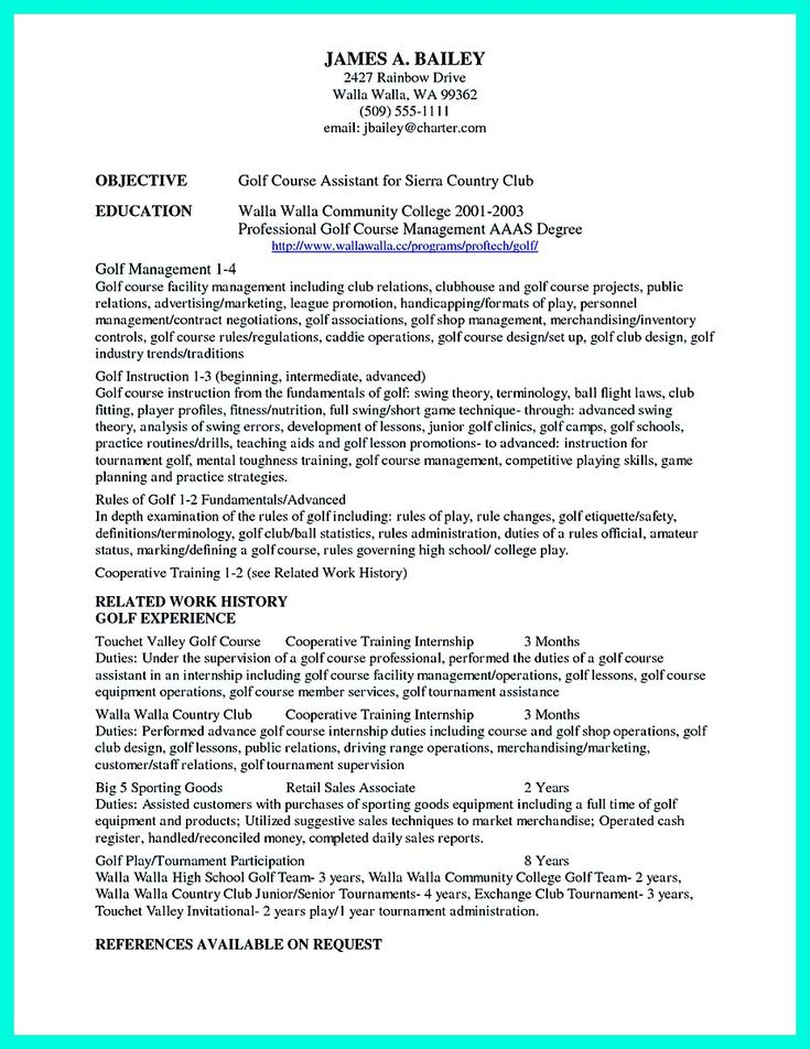 College resume is designed for college students either with or - College Golf Resume