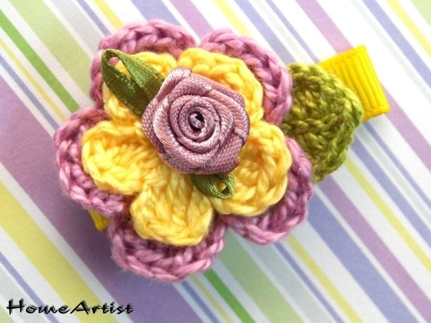 Blumen Haarspange - freie Farbwahl von Home Artist auf DaWanda.com