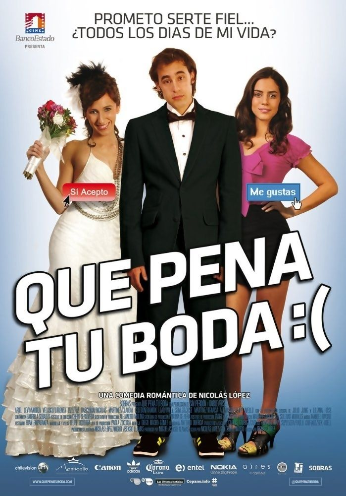 "Que Pena Tu Boda is a 2011 Chilean romance-comedy-drama film written by Nicolás López with a screenplay by Guillermo Amoedo and directed by Nicolás López. The film stars Ariel Levy, Andrea Velasco, Lorenzo Izzo, Paz Bascuñán, Nicolás Martínez, Julio Jung, Ramón Llao, and Claudia Celedón. Plot: When Angela gets pregnant, Javier proposes to her, but Javier's new intern wants more than his guidance in this sequel to ""Que Pena Tu Vida""."