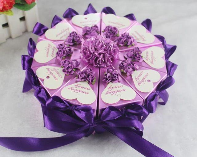 """Горячая распродажа бесплатная доставка свадьба украсить конфеты коробка / для выпечки """"Сделай сам"""" бумажная коробка фиолетовый + ленты + жемчуг + Tag + цветок шоколад коробку , 6 * 6 * 10 см"""