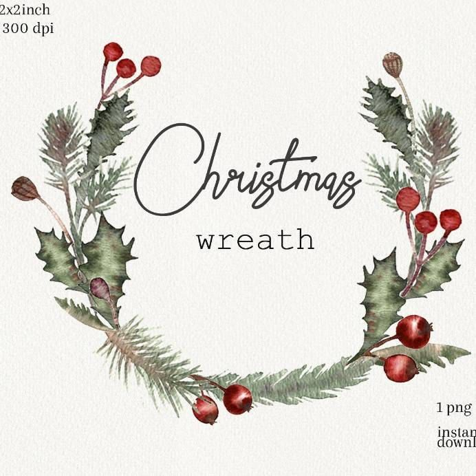Watercolor Christmas Greenery Wreath Clipart New Year Holiday Etsy In 2021 Christmas Wreath Illustration Christmas Wreath Clipart Christmas Watercolor
