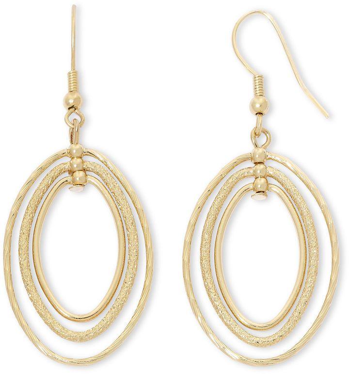 Liz Claiborne Gold-Tone, Orbital Drop Earrings