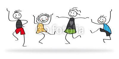 Freude, Strichmännchen, Freunde, Tanzen, Kinder