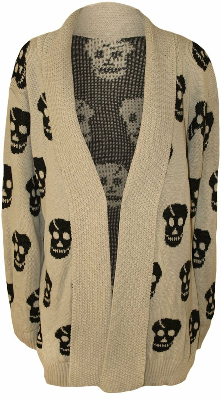PaperMoon Women's Plus Size Skull Long Sleeve Knitted Cardigan ($30.95)