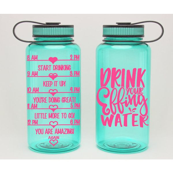 Drink Your Effing Water Funny Intake Gym Bottle Water Intake Tracker... ($19) ❤ liked on Polyvore featuring home, kitchen & dining, bar tools, drink & barware, drinkware, grey, home & living, water bottles & vacuum flasks, monogrammed flask and drinking flask