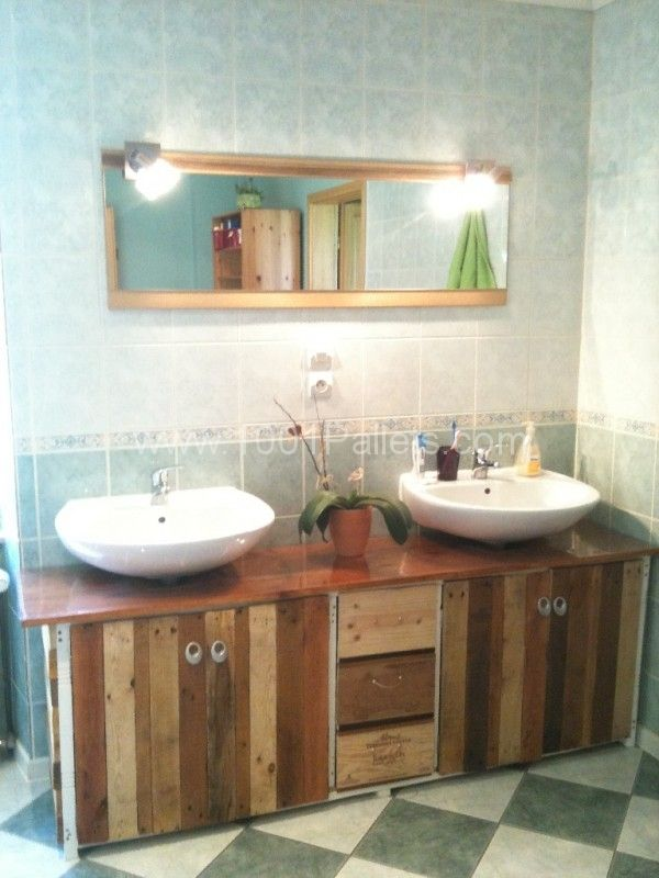 Bathroom pallet wine boxes furniture meuble de salle for Pallet bathroom ideas
