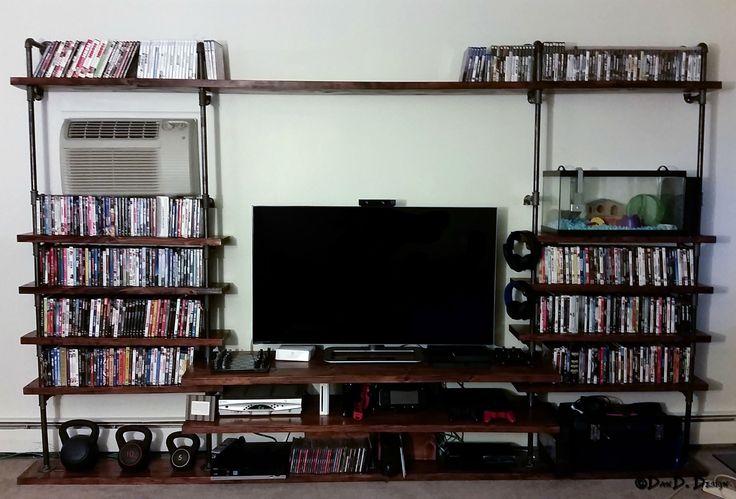 Custom 3 4 Quot Black Pipe Shelves Tv Stand Diy Pinterest