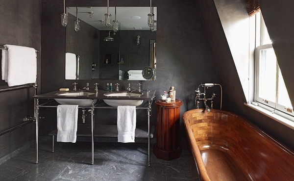 whoa: Masculine Bathroom, Interior, Idea, Bathtubs, Dark Bathroom, Wooden Bathtub, Design