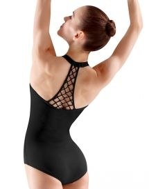 M8020LM - Mirella Rouleaux Knot Beaded Back Panel Halter Leotard #fashion
