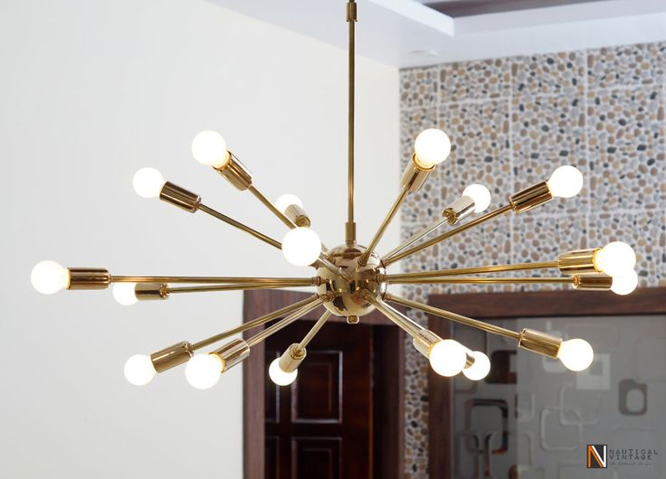 Mid Century Modern Polished Brass Sputnik Chandelier light fixture 18 Lights