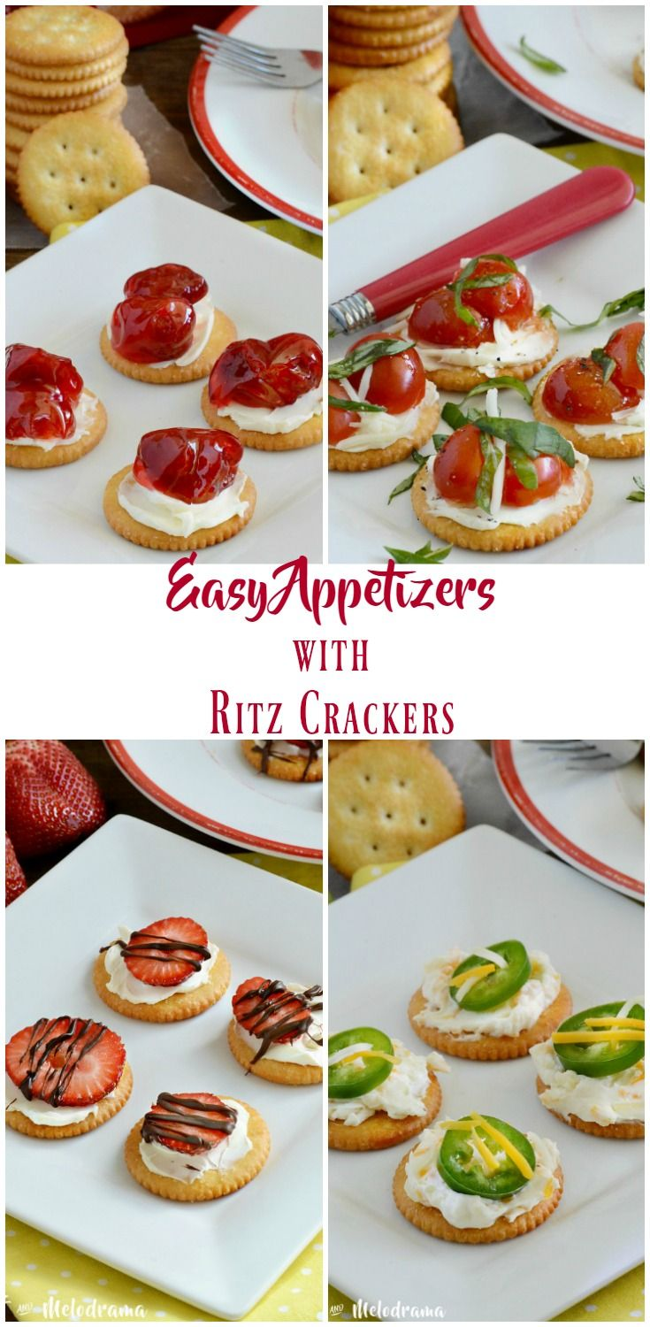 4 Easy Appetizer Recipes made with RITZ Crackers and cream cheese. These bite-sized finger foods are ideal for spring and summer entertaining or quick and easy snacks. #ad #SpreadRITZpiration from Meatloaf and Melodrama