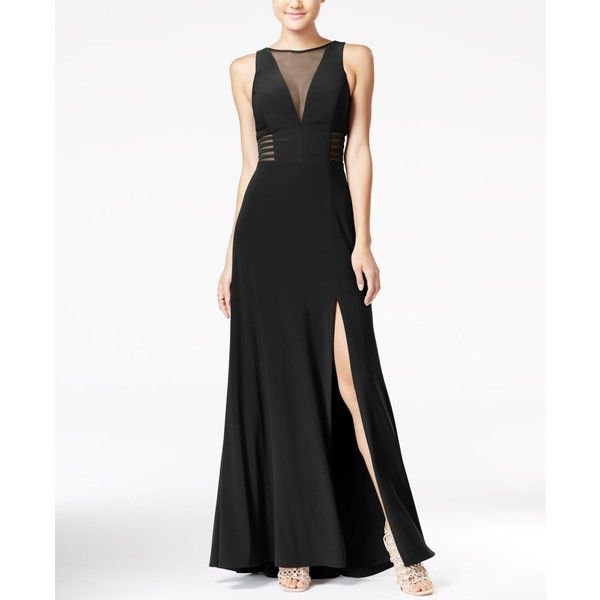 Morgan & Company Juniors' Illusion Front-Slit A-Line Gown ($59) ❤ liked on Polyvore featuring dresses, gowns, black, a line ball gown, a line dress, a line evening dresses, front slit dress and a line gown