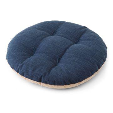 まるざぶとん 鉄紺×丁子茶(円座) 3990yen ソファや椅子の上で使いたい薄めの円座