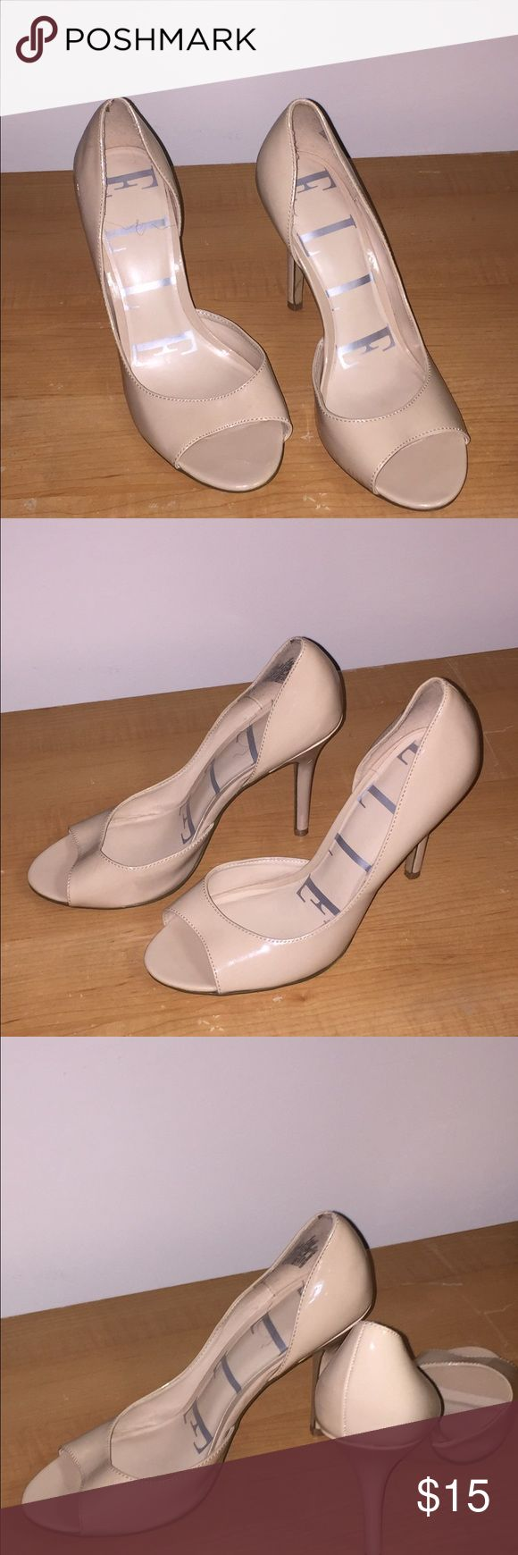 Elle neutral High Heels Open toe, Elle high heels. Worn once! Super cute! Pair with an office suit or your night out  dress...either way you will be sure to turn some heads! 😏 (Size 9 medium) Elle Shoes Heels