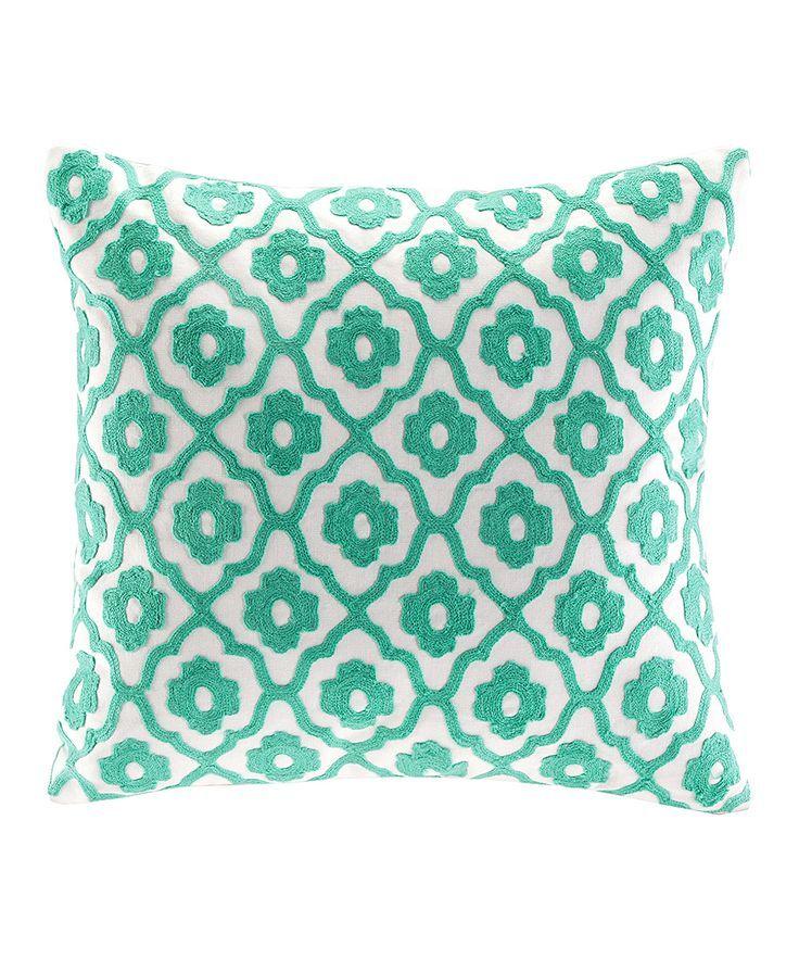 Aqua Trellis Throw Pillow