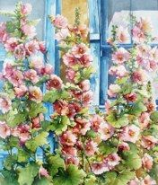Hollyhocks in Blue Window