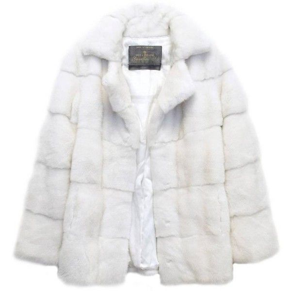 Preowned Lilly E Violetta White Natural Mink Fur Coat ($4,600) ❤ liked on Polyvore featuring outerwear, coats, jackets, white, leather-sleeve coats, mink fur coat, white coat, white mink coat and long sleeve coat