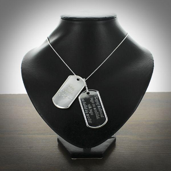 Nieśmiertelniki srebrne na stalowym łańcuszku, 140 zł