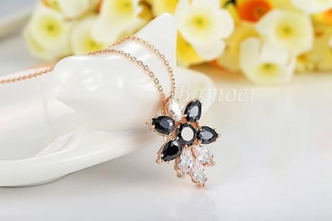High Quality Fashion 18K Gold Plated Necklaces Pendants with White&Black