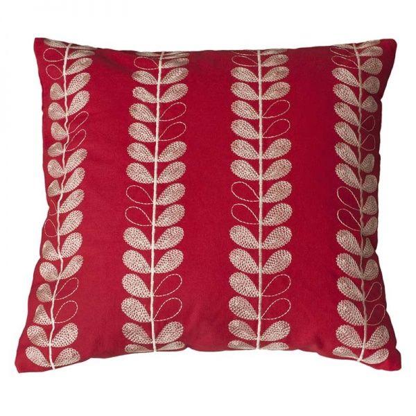 Linnea tyynynpäällinen, kirjottu, punainen