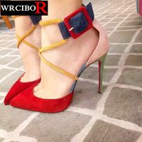 Verano zapatos de mujer sandalias de tacón Alto zapatos de las mujeres 2017 Nueva llegada de La Manera hebilla de la Marca de Lujo suede mujeres bombas de punta estrecha