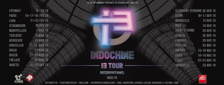 #Indochine#13Tour: ouverture de la billetterie demain 10h pour les concerts de :  - 18/02/18 - #Paris, #AccorhotelsArena - 22/02/18 - #Lyon, #HalleTonyGarnier  - 28/03/18 - #Rouen, #Zénith  - 03/04/18 - #Nantes, Zénith - 11/04/18 - #Dijon, Zénith  - 16/05/18 - #Amiens, Zénith - 19/05/18 - #Caen, Zénith  - 23/05/18 - #Lille, Zénith  Billetterie : www.Indo.fr et réseaux habituels (Fnac, Myticket.fr, Ticketmaster.fr, Accorhotelsarena.com, Carrefour, Auchan, Leclerc, Magasins U, Cultura, Cora…