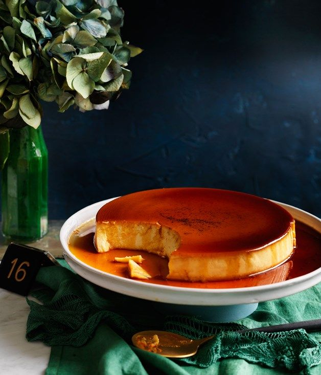 This version of a flan is something of a cross between a crème caramel and a cheesecake, dense with cream cheese and rich with amber caramel.