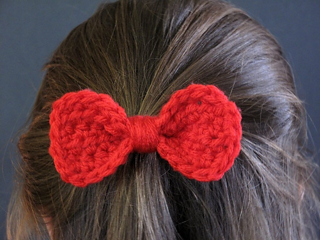Crochet Hair Ribbon Pattern : free pattern from Ravelry: Crochet Bow Barrette pattern by The ...
