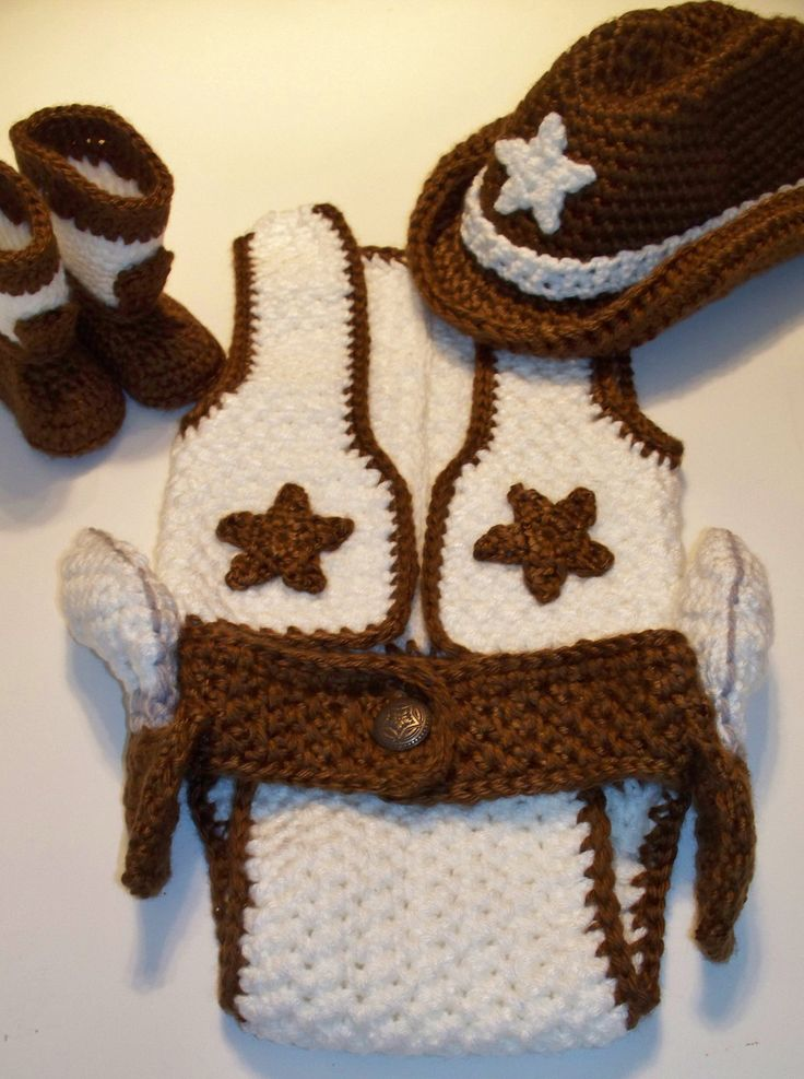 One of Kind 4 Piece Cowboy/girl Set - Crochet, Unique, Adorable Shower Gift, Photo Prop. $55.00, via Etsy.