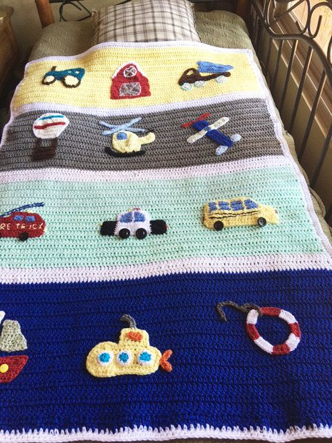 Crochet Blanket with cars airplains tractor