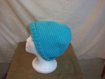 Tunisian Crochet Stitch Turquoise Slouch Adult Teen Hat