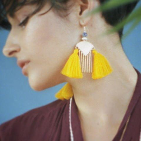 Malea #earrings  with @ste_helene @naomiet @lehonye #brass #comb #yellow #tassels #handmade #montreal #fashion