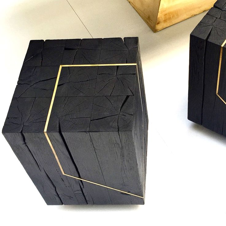 Materia. Faug stool. Charred reclaimed oak,   and brass detailing. www.materia.studio