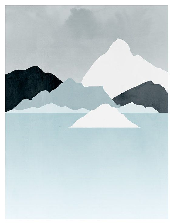 Minimal Abstract Landscape Art, Mountains, Minimalist Poster, Blue and Grey, Iceberg