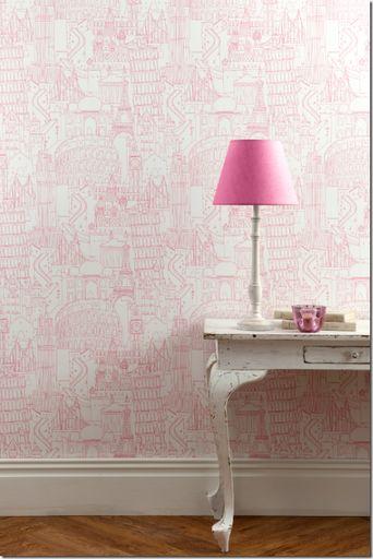 Paris, London, Rome... pink wallpaper by Clarke & Clake