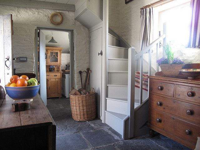 I've been in old cottages with staircases this small and tight . .  very difficult to get furniture upstairs this way... often have to be taken in through an upstairs window. .