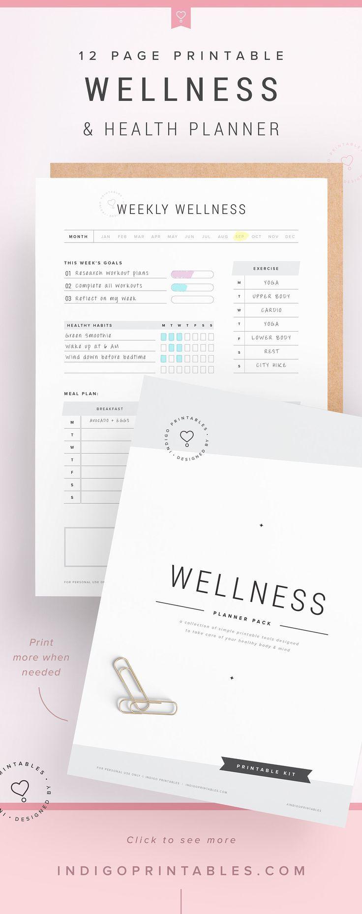 Wellness Planner, Self Care Planner, Wellbeing Planner