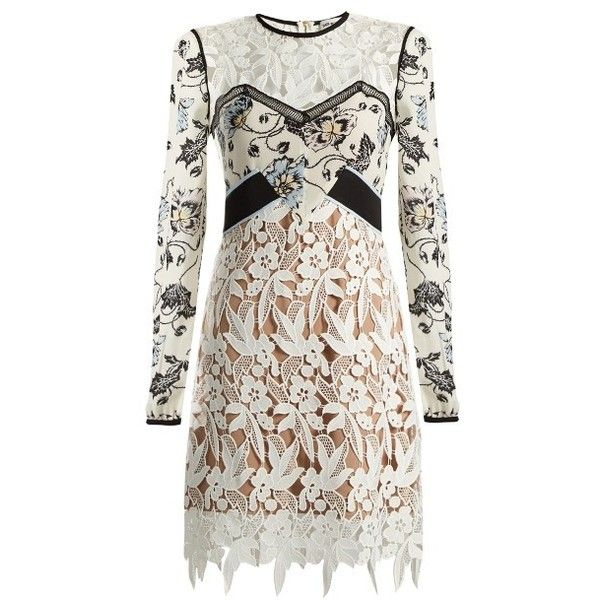 Self-portrait Swallow guipure-lace dress (1,635 PEN) ❤ liked on Polyvore featuring dresses, white multi, short evening dresses, white floral dress, white evening dresses, lace dress and holiday cocktail dresses