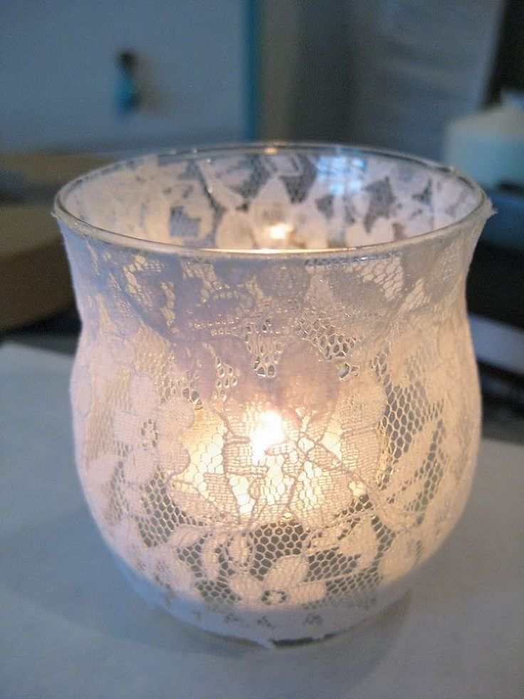 How To Make A Lace Candle Holder Or use a mason jar and put a narrow Xmas ribbon on the rim.